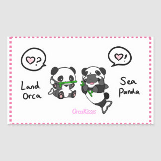 Sea panda + land orca friends rectangular sticker
