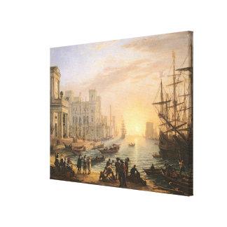 Sea Port at Sunset, 1639 Canvas Print