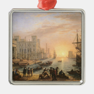 Sea Port at Sunset, 1639 Silver-Colored Square Decoration