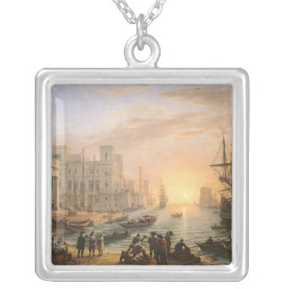 Sea Port at Sunset, 1639 Silver Plated Necklace
