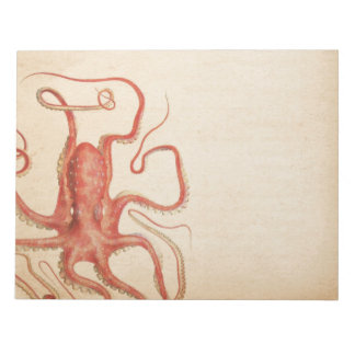 Sea Red Octopus Aged Sepia Steampunk Notepad