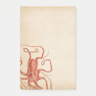 Sea Red Octopus Aged Sepia Steampunk Post-it Notes