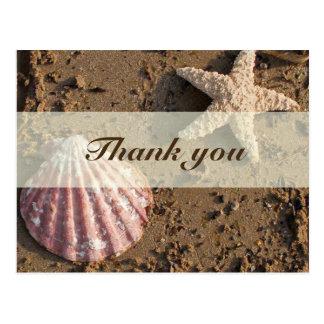 Sea Shell and Sand Thank You Postcard