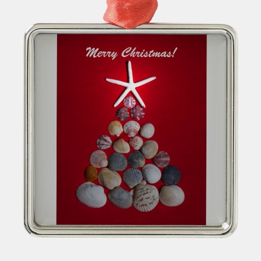 Sea Shell Christmas Tree Silver-Colored Square Decoration