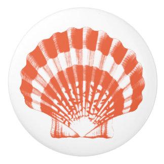 Sea Shell - coral orange and white Ceramic Knob