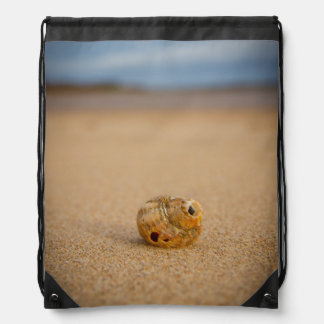 Sea Shell on the Beach Drawstring Backpack