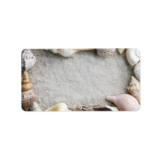 Sea Shell Sand Background - Beach Shells Customise Address Label