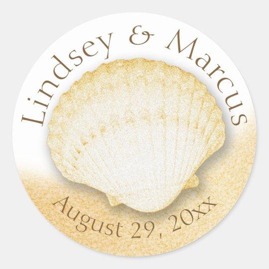 Sea Shell Sparkle Gold Beach Classic Round Sticker
