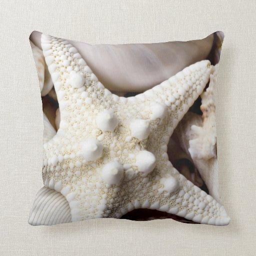 Sea Shell Starfish Background - Beach Shells Throw Pillows