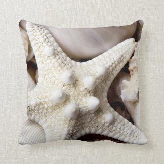 Sea Shell Starfish Background - Beach Shells Throw Cushions