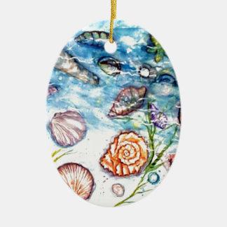 Sea Shell Watercolor painting Christmas Tree Ornament