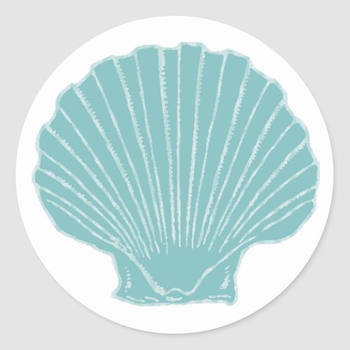 Sea Shell Wedding Envelope Seal Round Stickers