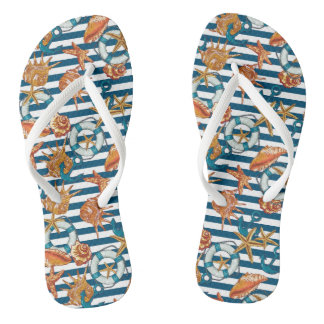 Sea Shells And Anchor Pattern Flip Flops