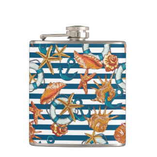 Sea Shells And Anchor Pattern Hip Flask