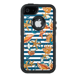 Sea Shells And Anchor Pattern OtterBox Defender iPhone Case