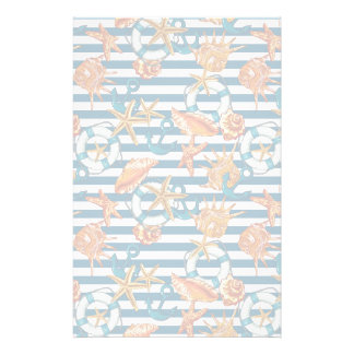 Sea Shells And Anchor Pattern Stationery