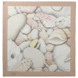 Sea Shells and Pebbles in Coloured Pencil Napkin