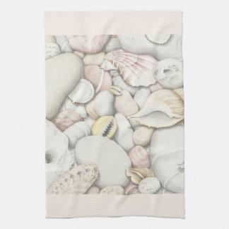 Sea Shells and Pebbles in Coloured Pencil Tea Towel