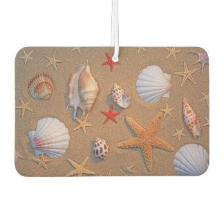 Sea Shells And Starfish Arranged On Sand Car Air Freshener