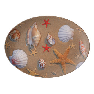 Sea Shells And Starfish Arranged On Sand Porcelain Serving Platter