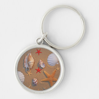 Sea Shells And Starfish Arranged On Sand Silver-Colored Round Key Ring