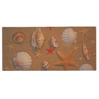 Sea Shells And Starfish Arranged On Sand Wood USB 2.0 Flash Drive
