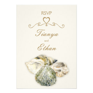 Sea shells art wedding RSVP reply Personalized Announcement
