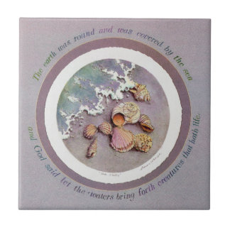 SEA SHELLS by SHARON SHARPE Small Square Tile