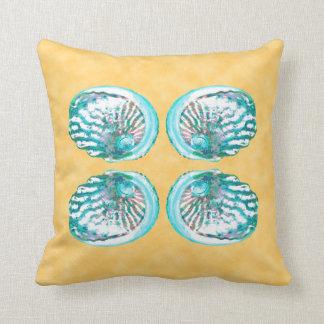 Sea Shells Design, Turquoise and Yellow. Cushion