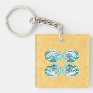 Sea Shells Design, Turquoise and Yellow. Key Ring