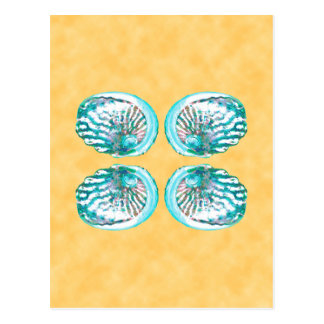Sea Shells Design, Turquoise and Yellow. Postcard