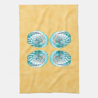 Sea Shells Design, Turquoise and Yellow. Tea Towel