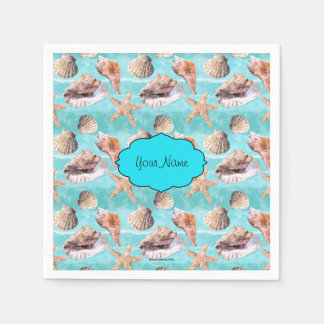 Sea Shells Ocean Blue Stripe Disposable Serviettes