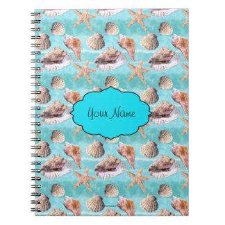 Sea Shells Ocean Blue Stripe Notebook
