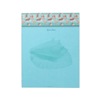 Sea Shells Ocean Blue Stripe Top Border Notepad