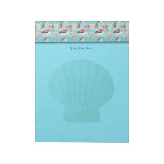 Sea Shells Ocean Blue Stripe Top Border Scallop Notepad