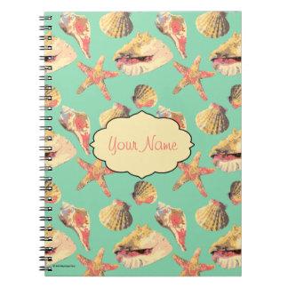 Sea Shells on Aqua Spiral Notebook