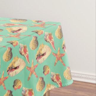 Sea Shells on Aqua Tablecloth