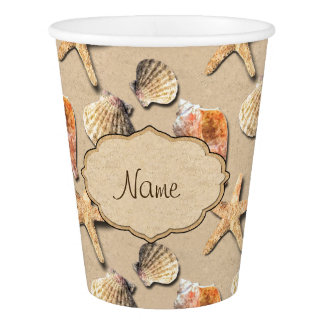Sea Shells on Beach Sand Paper Cup