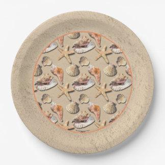 Sea Shells on Beach Sand Paper Plate