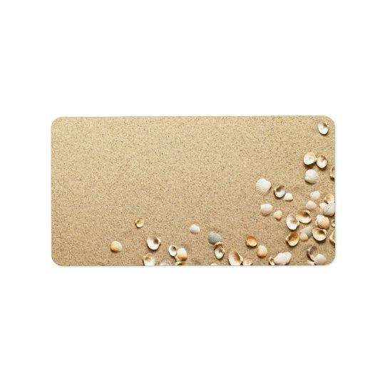 Sea Shells On Sand Label