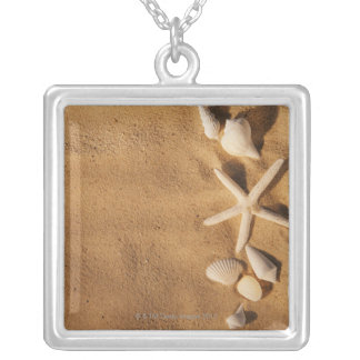 Sea shells on sand silver plated necklace