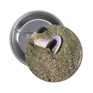 Sea shells on sand. Summer beach background 6 Cm Round Badge