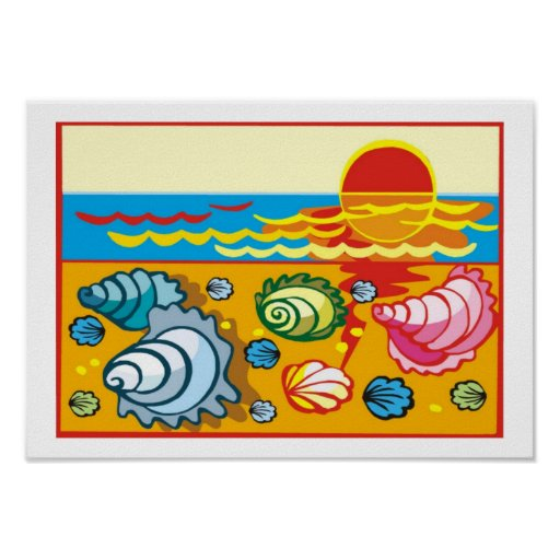 Sea Shells on the Beach Poster