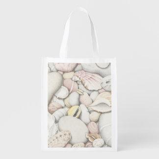 Sea Shells & Pebbles in Colour Pencil Reusable Bag