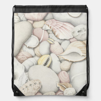 Sea Shells & Pebbles in Pencil Drawstring Bag