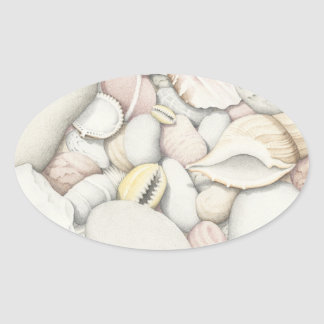 Sea Shells & Pebbles in Pencil Oval Stickers