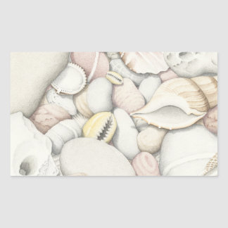Sea Shells & Pebbles in Pencil Rectangle Stickers