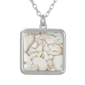 Sea Shells & Pebbles Pencil Silver Plated Necklace