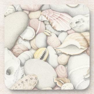 Sea Shells & Pebbles Plastic coasters - set of six